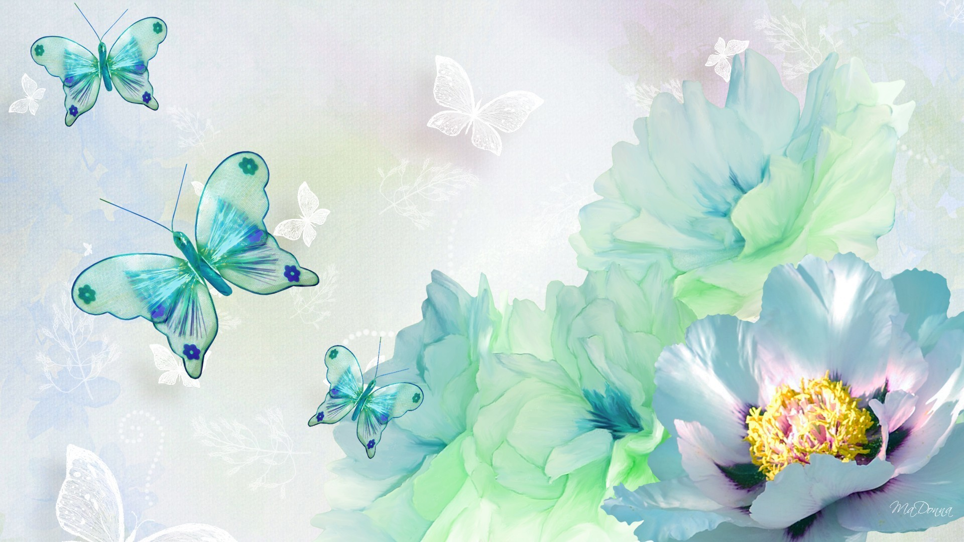 butterfly and flower wallpaper ·①