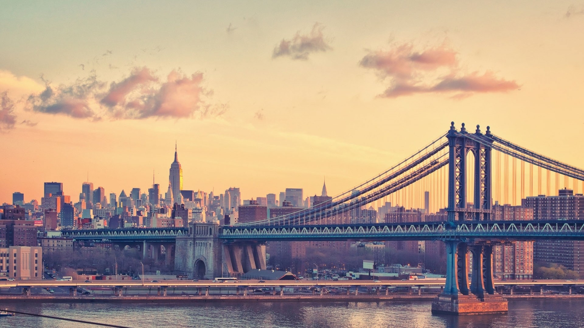 1920x1080 manhattan bridge at dusk new york usa background desktop for mac os