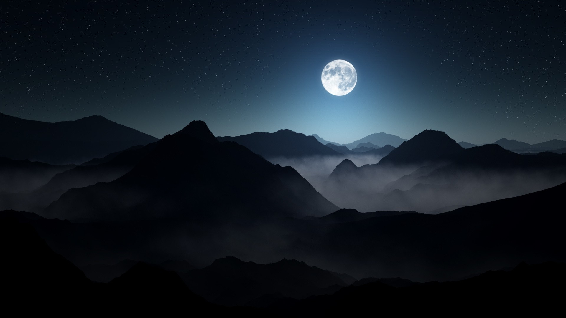 Tropical Waves Sky Mountains Clouds Island Moon Night: Moonlight Night Wallpaper ·①