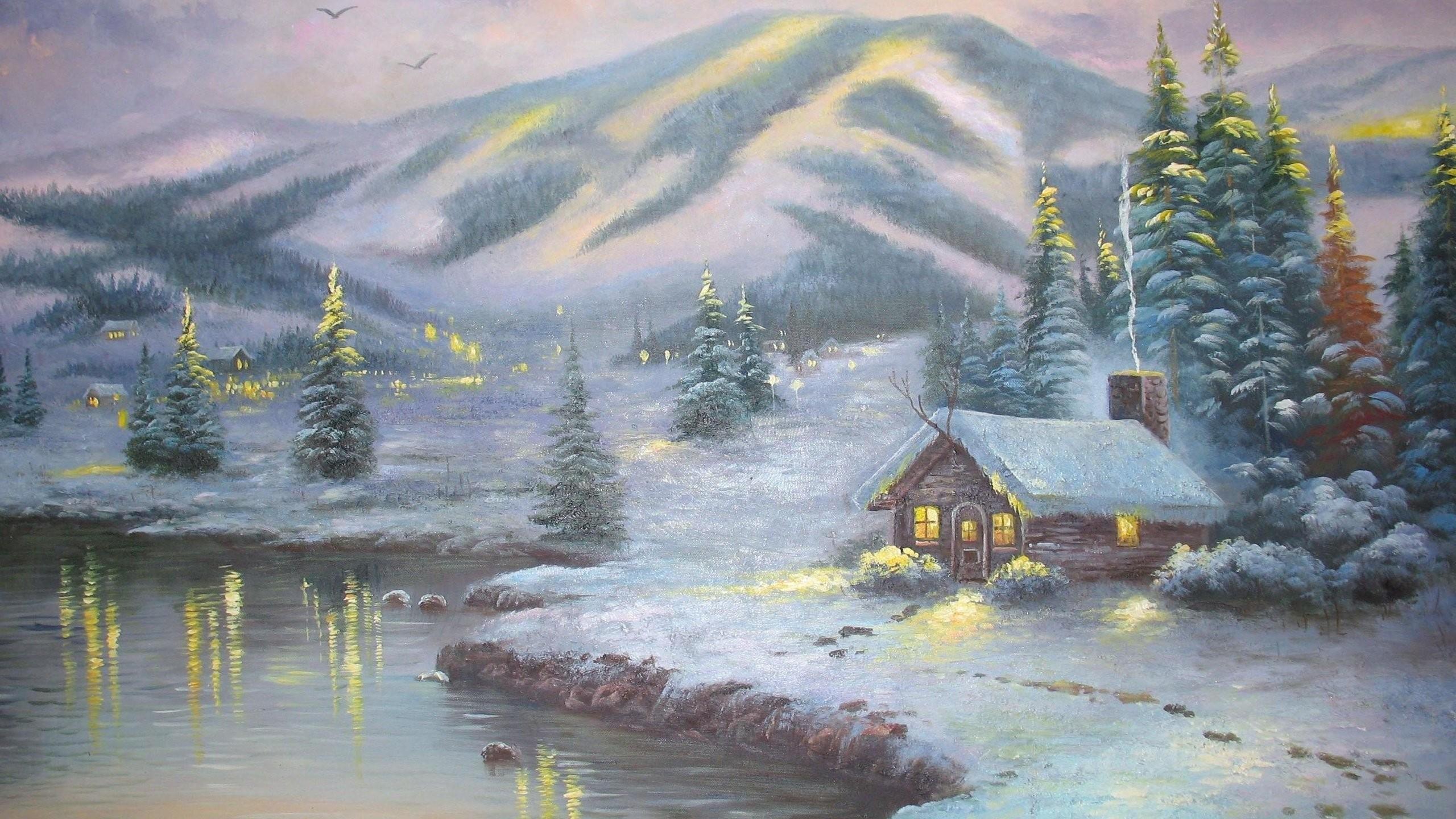 Thomas kinkade winter wallpaper wallpapertag for Foto inverno per desktop