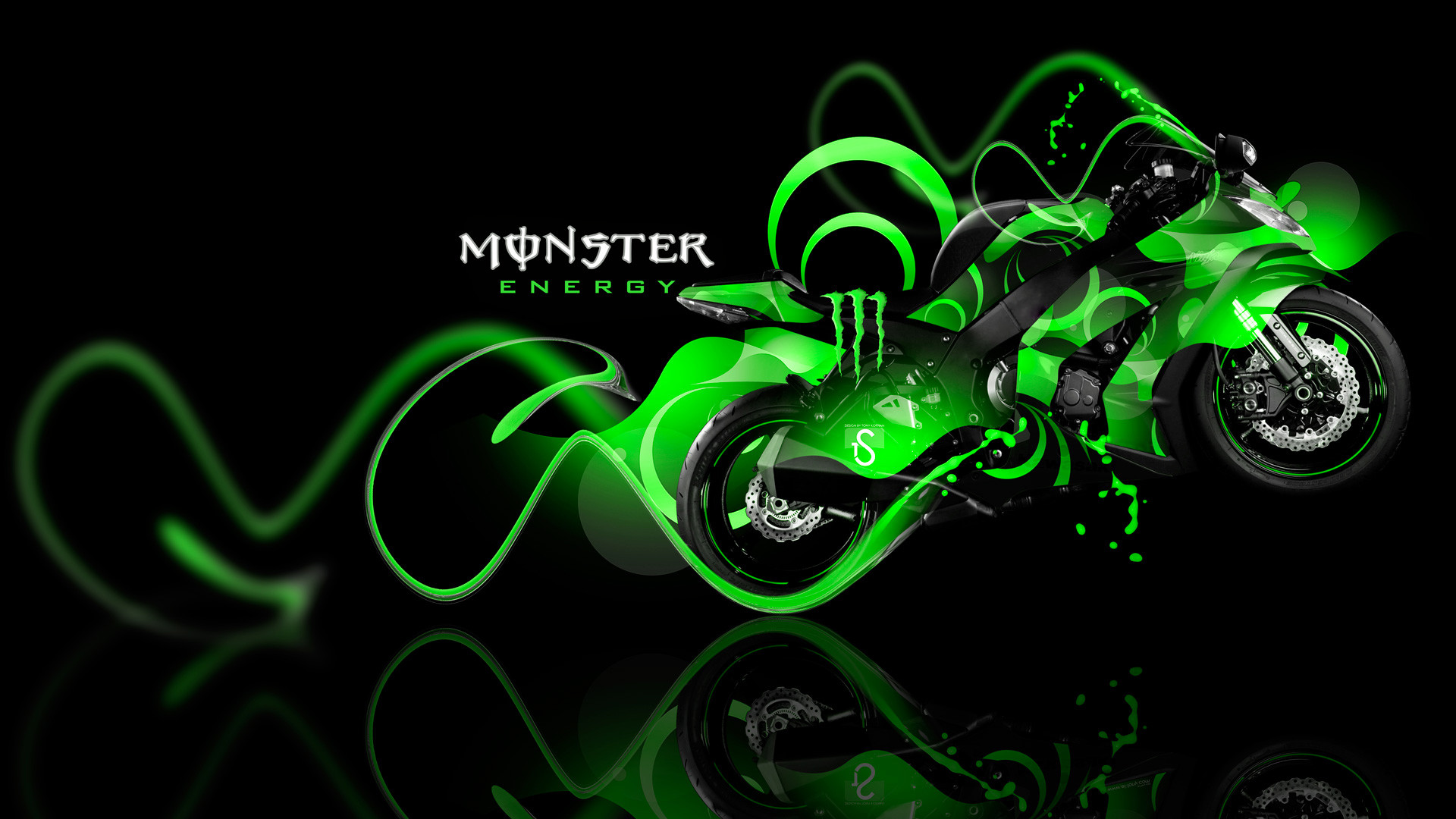 Monster Energy Lamborghini Aventador Front Fantasy Green Plastic