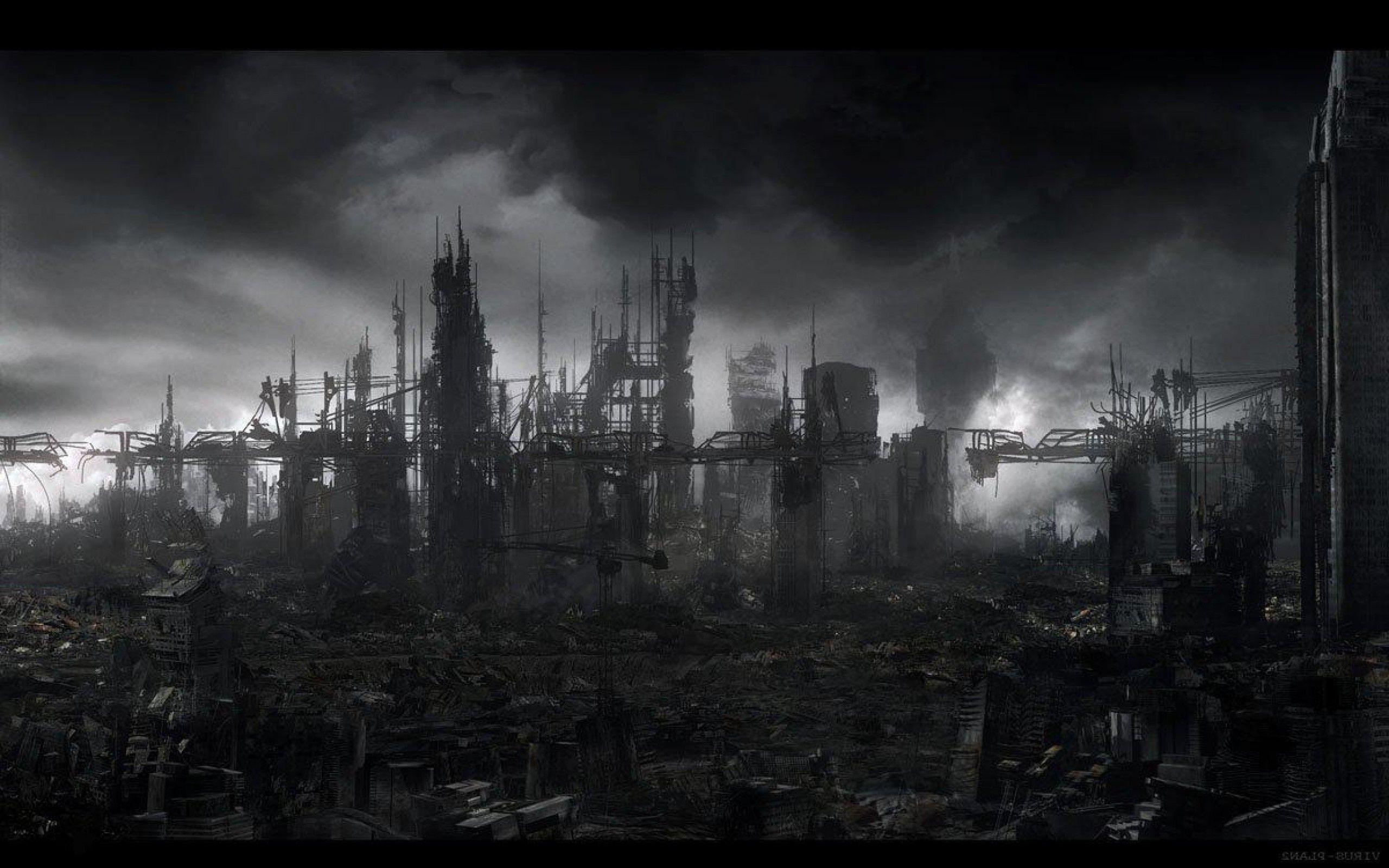 destroyed city background