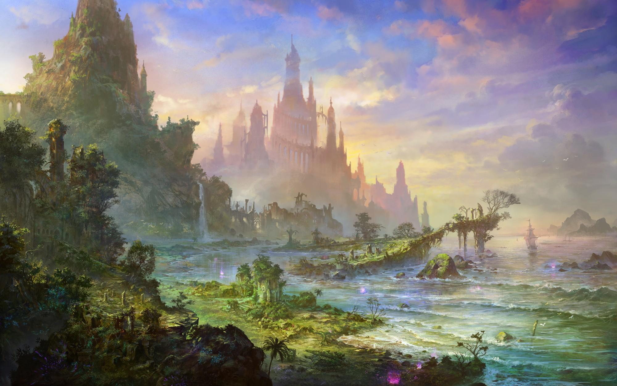 Dark anime background scenery download free stunning - Fantasy scenery wallpaper ...