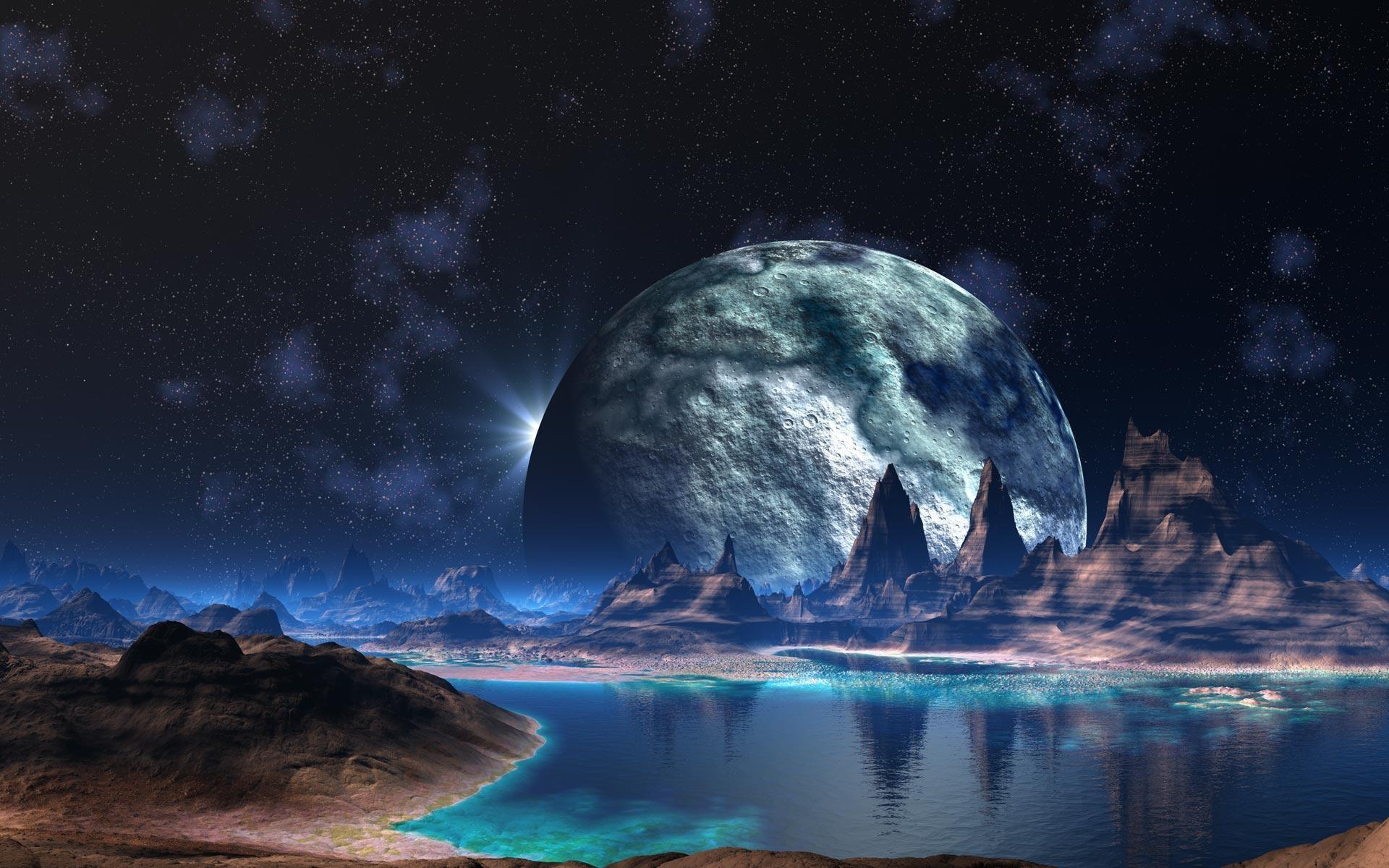Планеты над горами  № 1163959 бесплатно