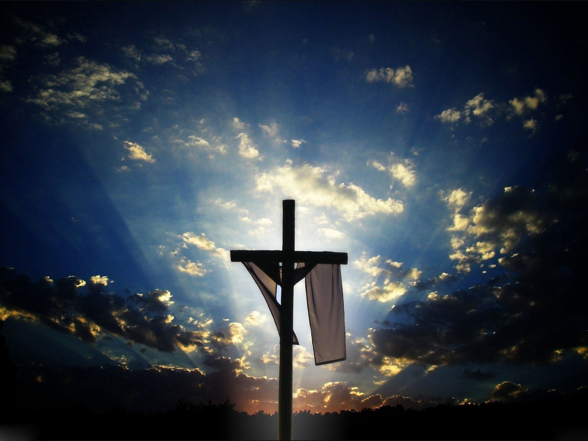 2048x1536 Christian Cross With Jesus Christ In Beautiful Sunrise Wallpapers Download