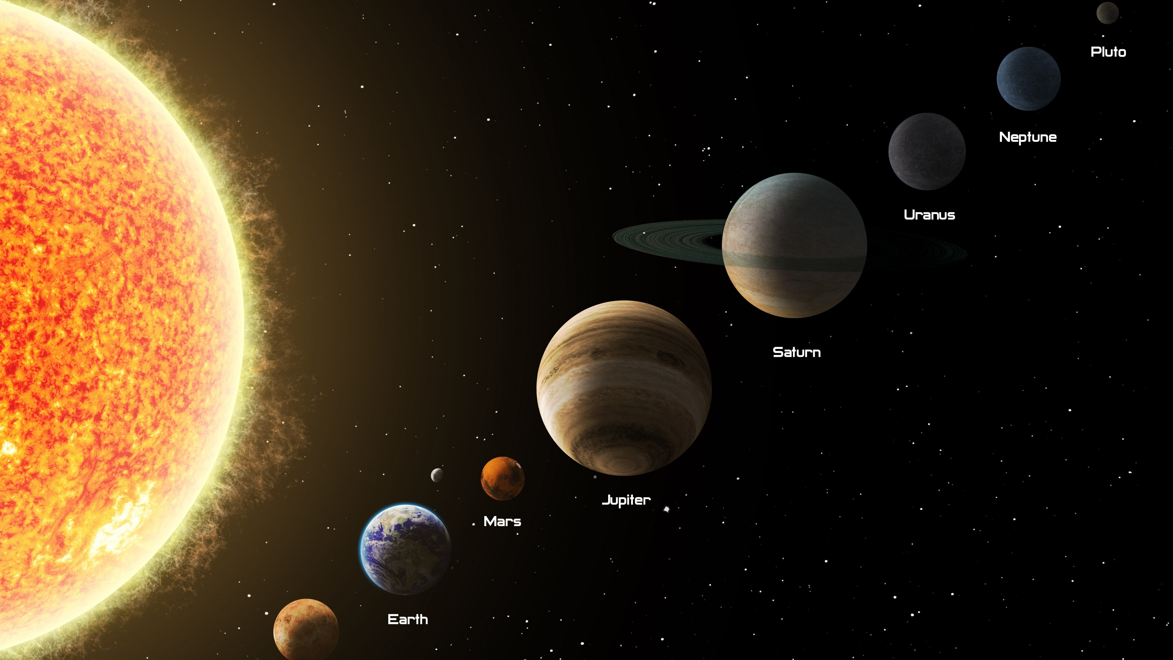 outer planets of the solar system - HD3840×2160