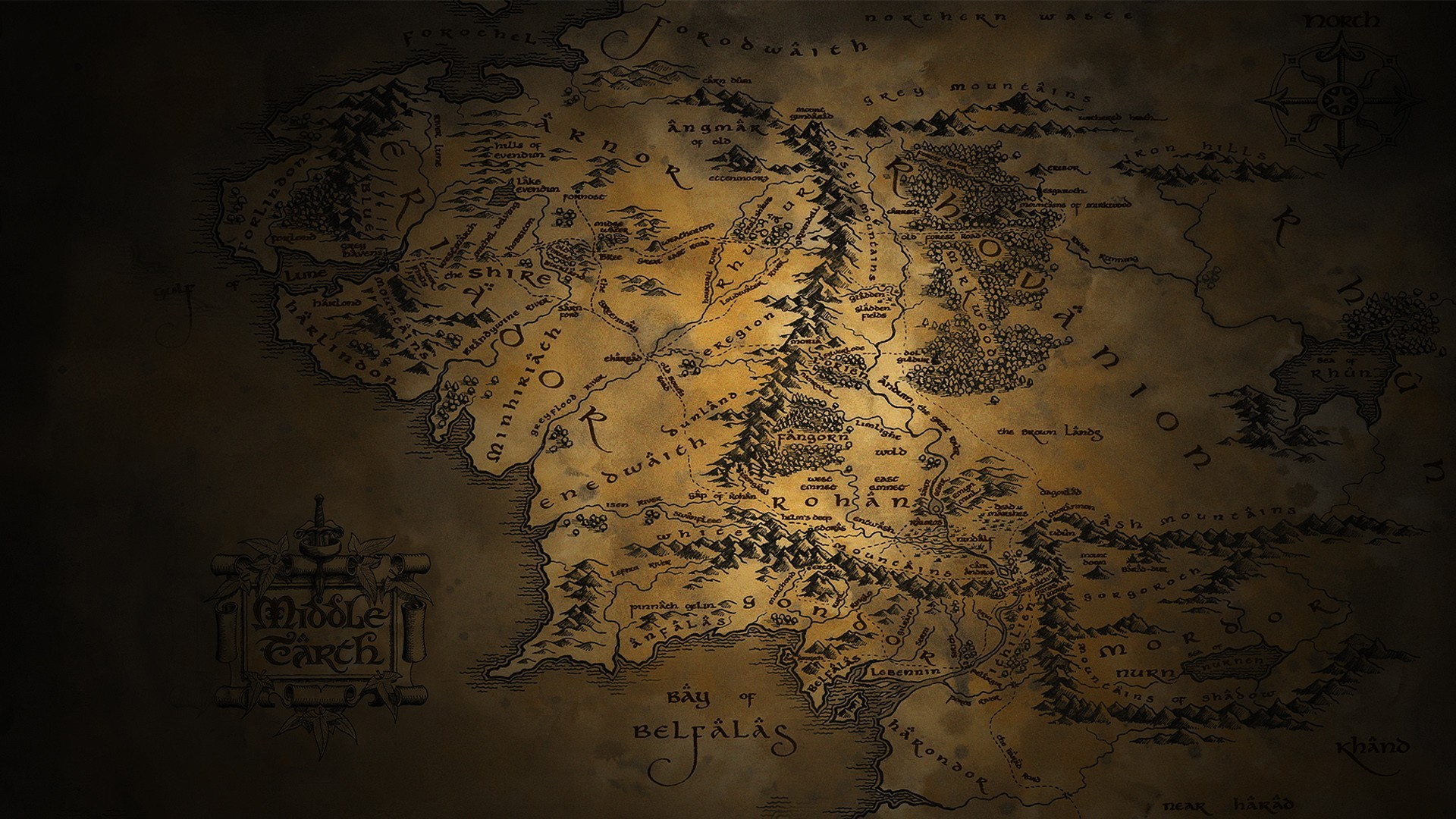 Map of Middle Earth Wallpaper ·①