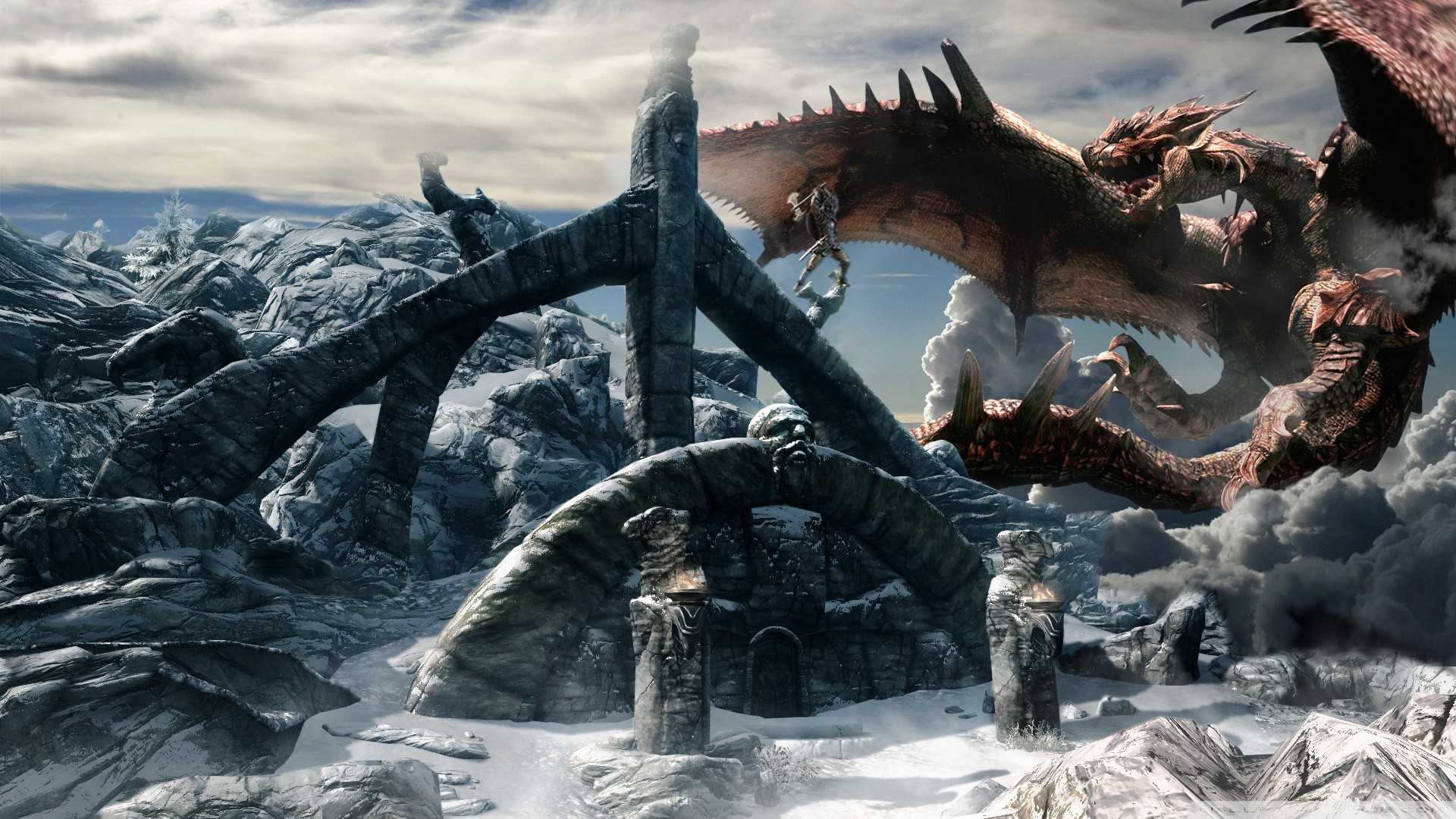 Skyrim dragon wallpaper wallpapertag - Dragon backgrounds 1920x1080 ...