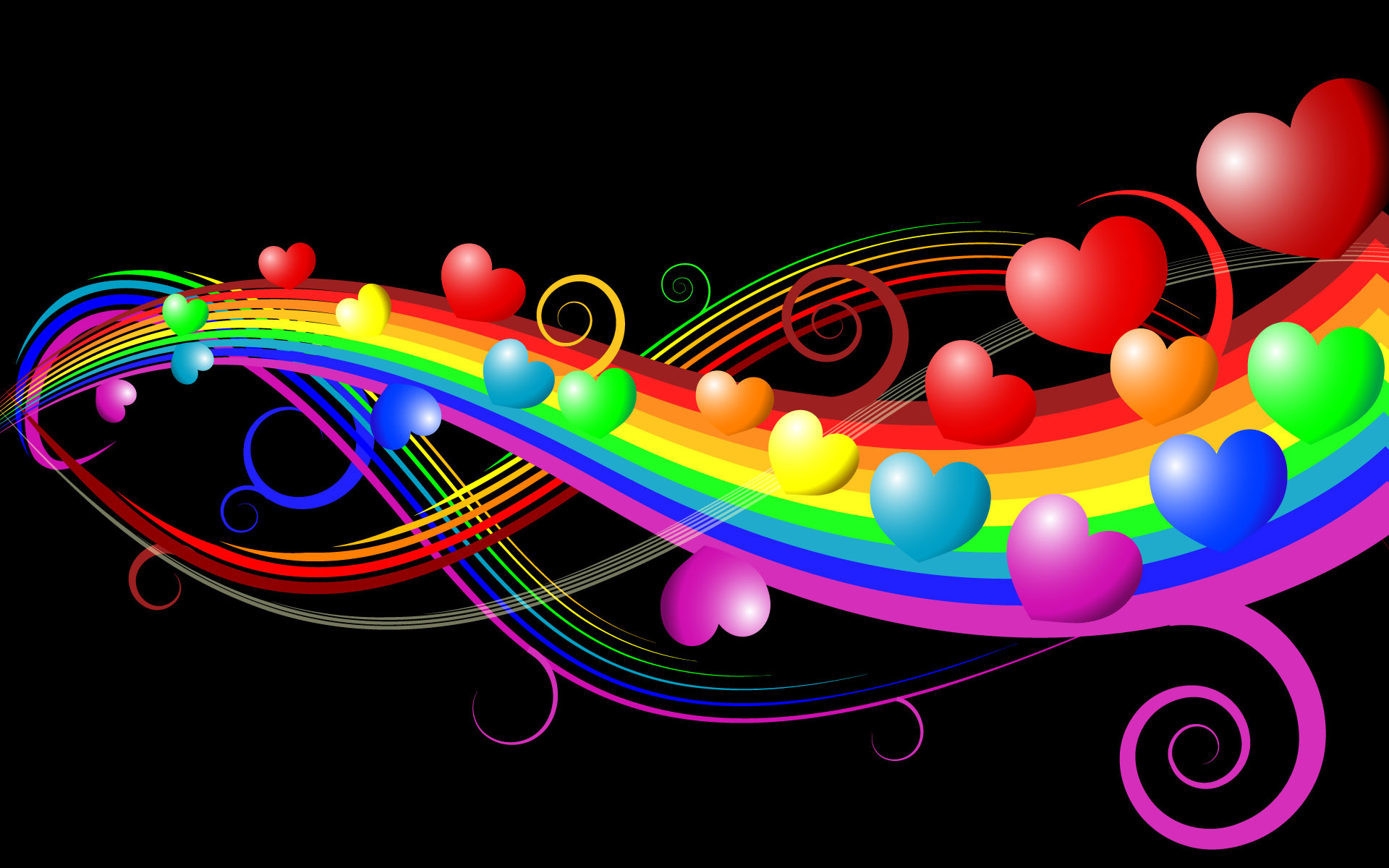 1920x1200 Wallpaper Heart Rainbow