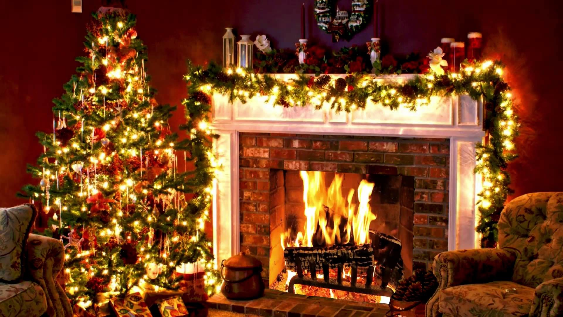 Christmas Fireplace Background ·① WallpaperTag