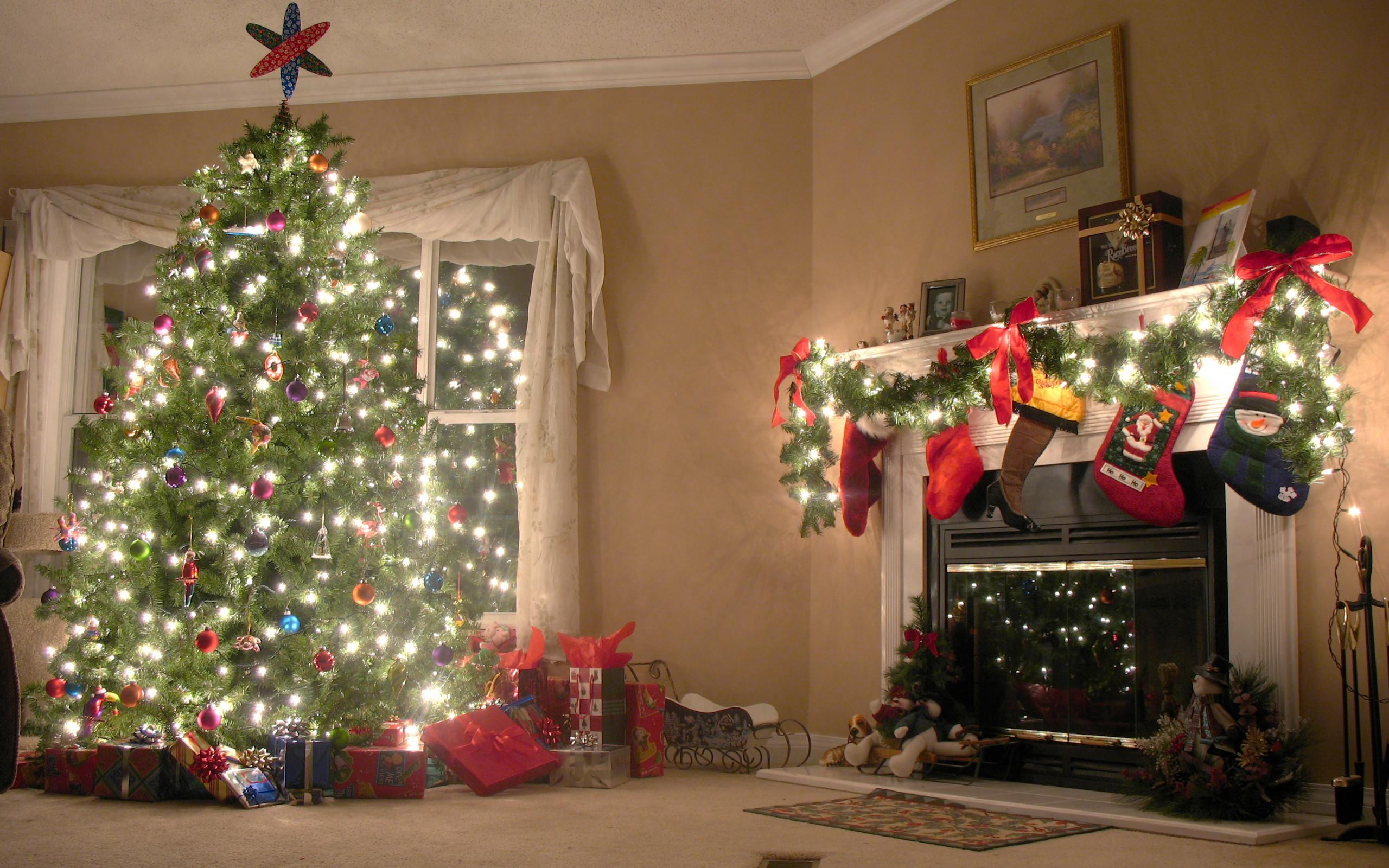 christmas fireplace background