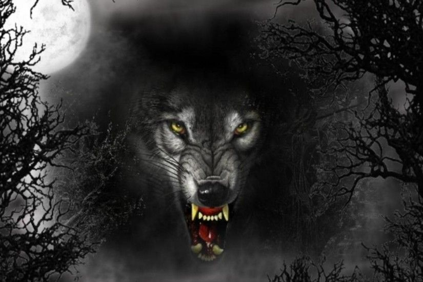 evil wolves | Cruel Wolf, dark, evil, eyes, full moon, vicious