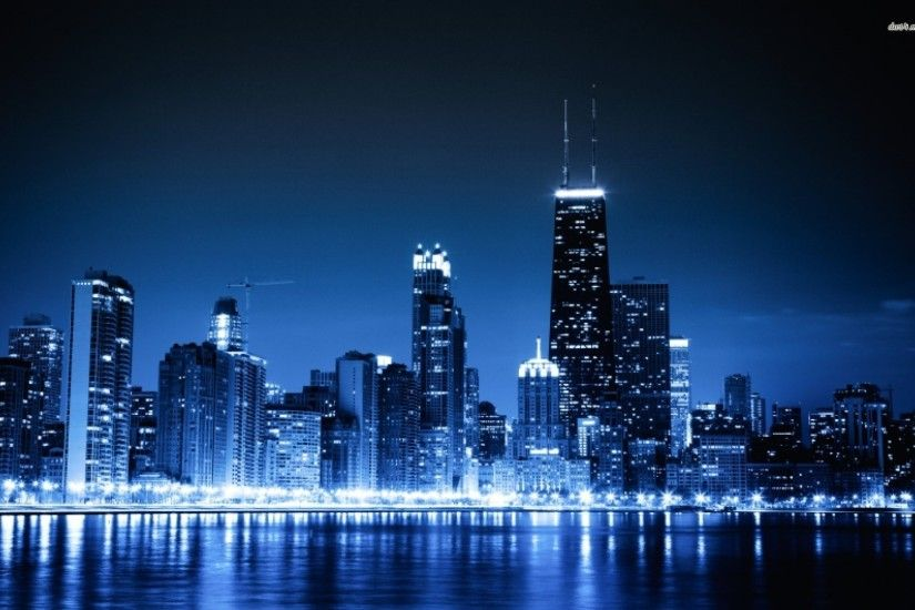 Glowing Chicago Skyline Wallpaper Wall Mural SelfAdhesive