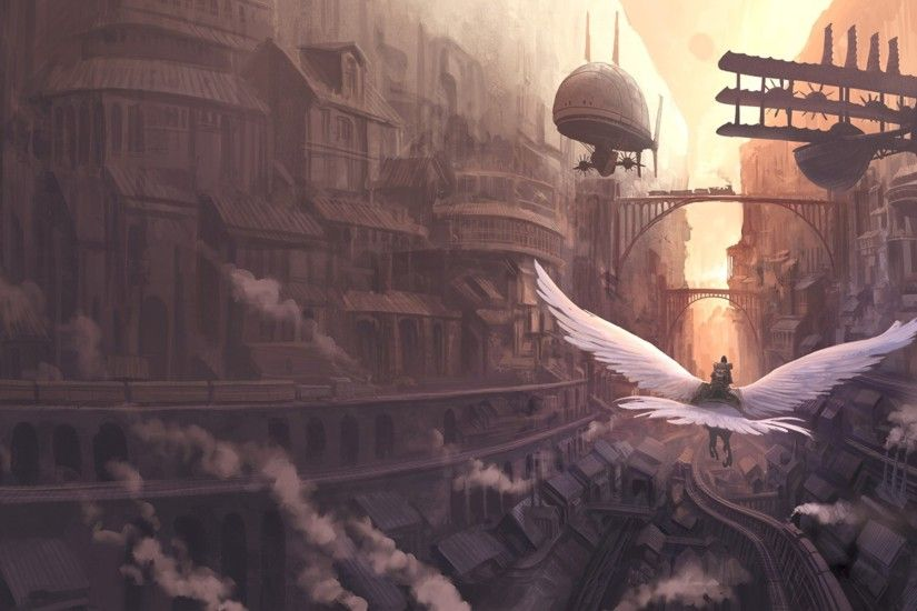 flying, Fantasy Art, Steampunk Wallpapers HD / Desktop and Mobile  Backgrounds