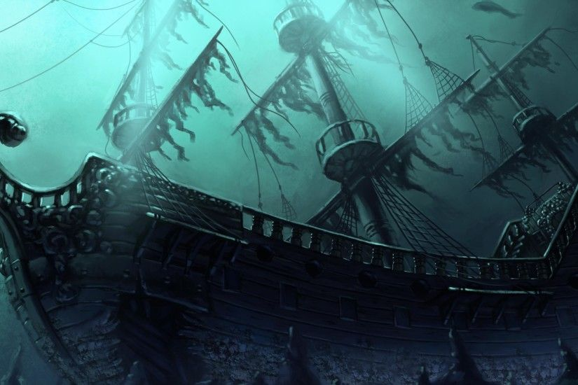 Sunken Ghost Pirate Ship Wallpaper
