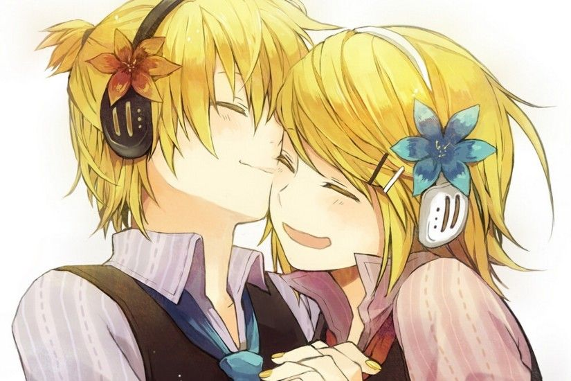 2560x1440 Wallpaper vocaloid, kagamine rin, kagamine len, two, smile