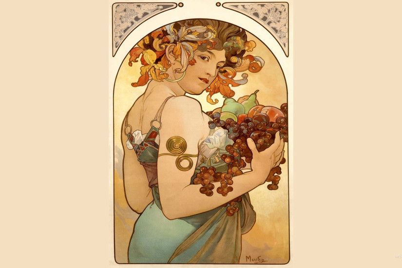 "3840x2160 Alphonse Mucha Quote: ""The purpose of my work was never to  destroy but always"