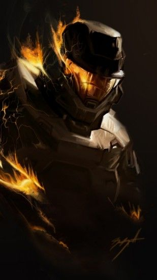 Preview wallpaper halo, fire, soldier, armor 1440x2560