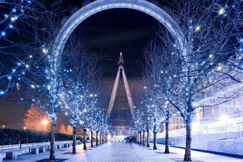 London Eye, Christmas Lights, Trees, London, Path Wallpapers HD / Desktop  and Mobile Backgrounds
