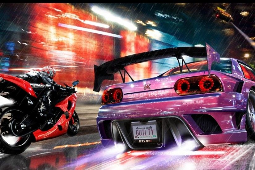 Preview wallpaper nfs, need for speed, motorcycle, car, nissan gtr, road