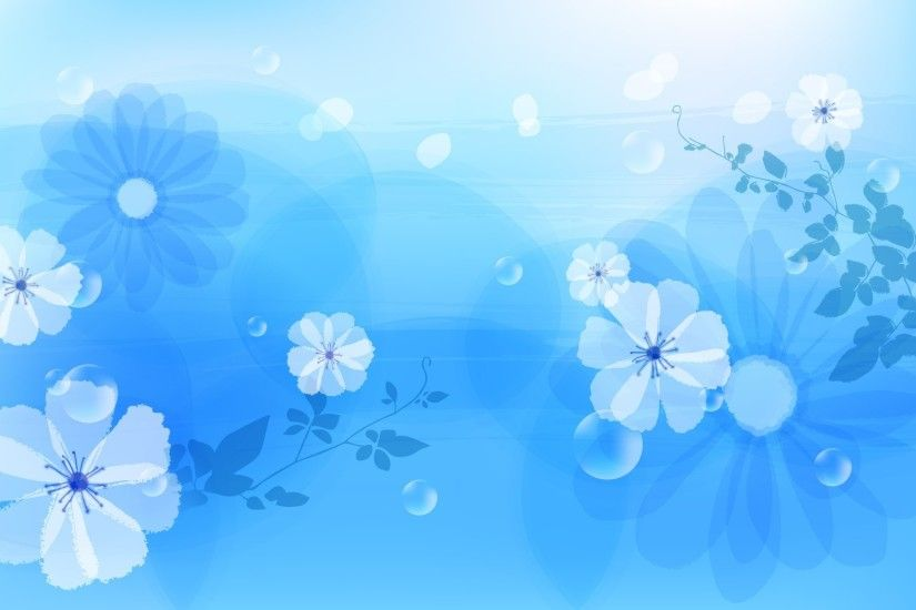 flowers, drawing, blue, background wallpaper thumb