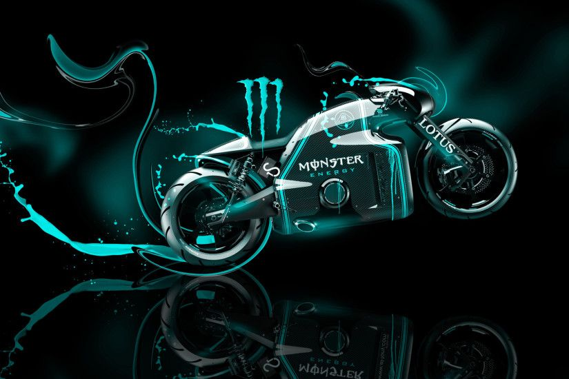 Monster Energy Lotus C 01 Fantasy Plastic Bike Azure Neon Wallpapers.