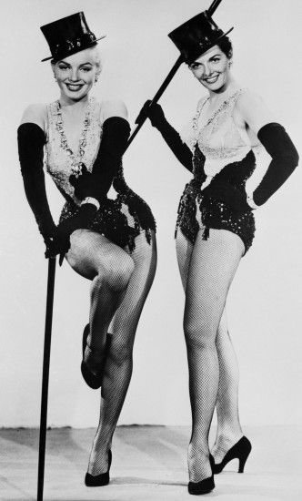 Marilyn Monroe & Jane Russell with top hats and canes in GENTLEMEN PREFER  BLONDES.