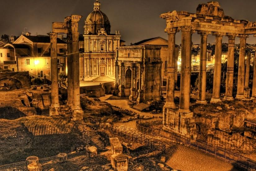 Preview wallpaper italy, ruins, columns, vintage, hdr 3840x2160