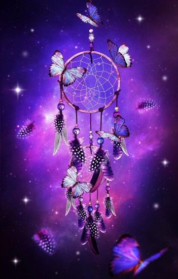 1227x1920 dream catcher with butterflies & purple background