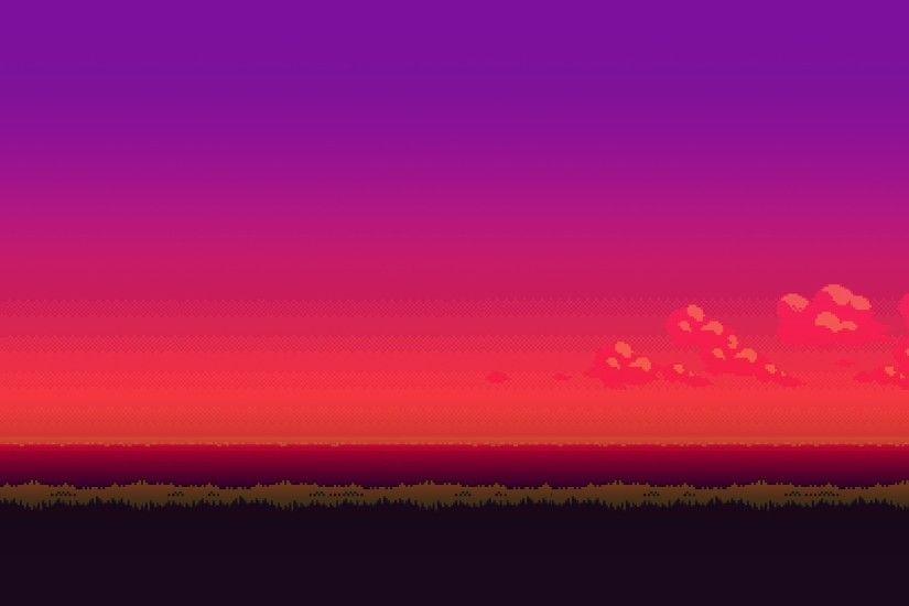 8-bit purple sunset wallpaper
