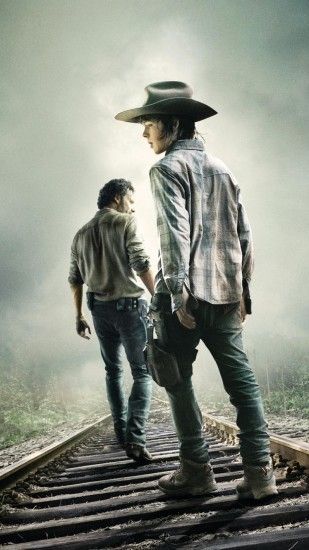 1080x1920 Wallpaper the walking dead, rick grimes, carl grimes, andrew  lincoln, chandler
