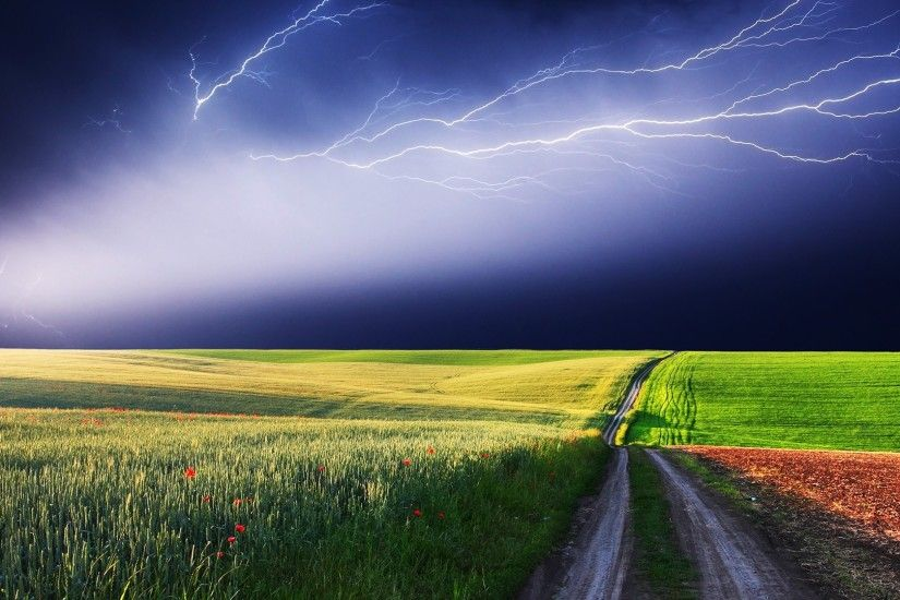 Preview wallpaper lightning, field, road, blackness, bad weather, sky, peal