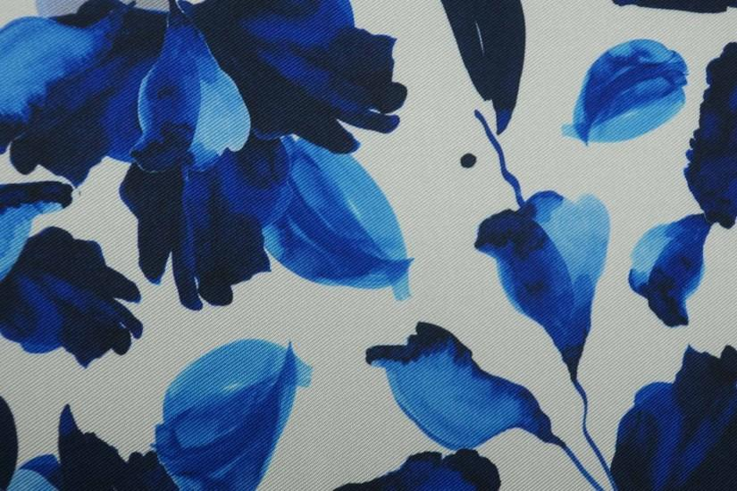 Royal Blue Accents Floral Printed on Background White Mikado