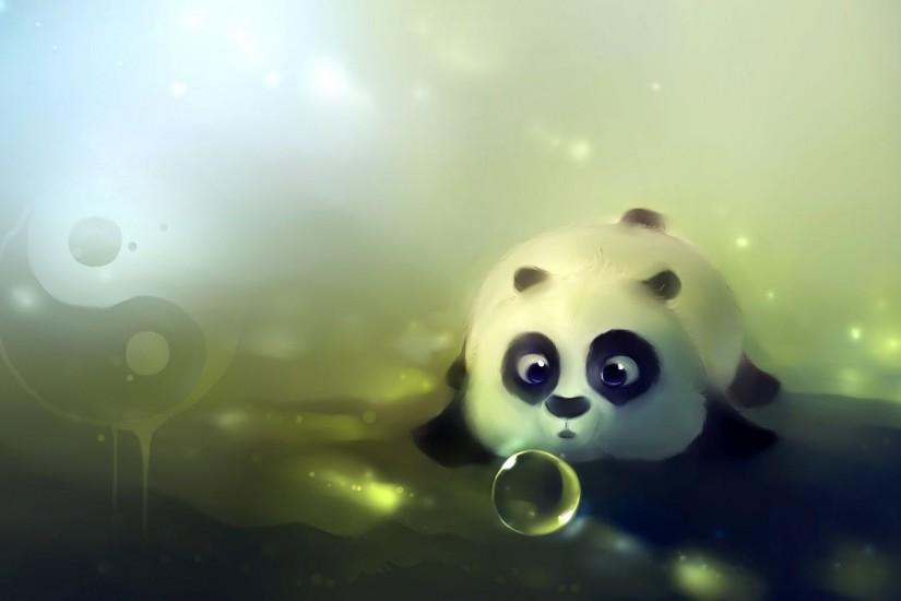 Cute panda playing with bubbles wallpaper #14509