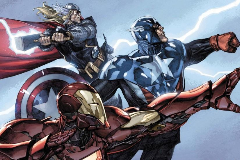 Thor Comic Book Wallpaper Thor, captain america and iron