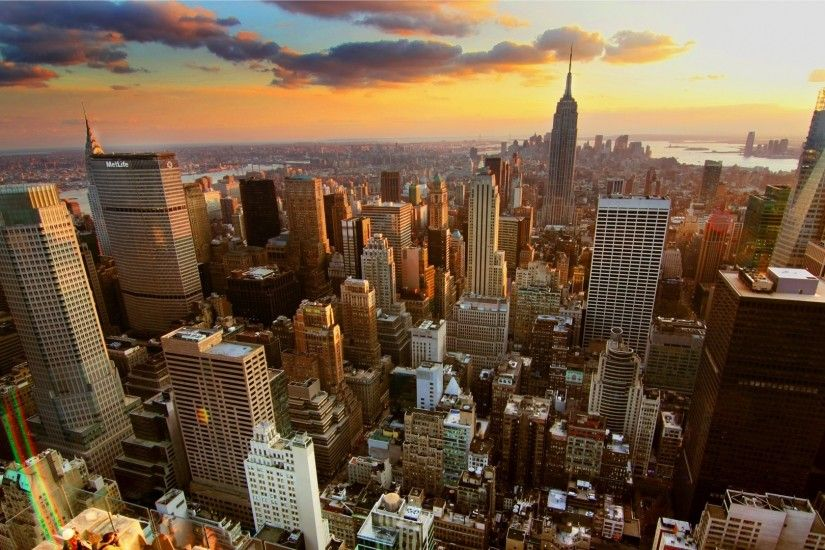 1920x1080 Wallpaper new york, home, skyscrapers, rooftops, sunset