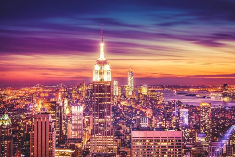 Download New York City Sunset Wallpapers Desktop Background 2048x1152 px  908.71 KB