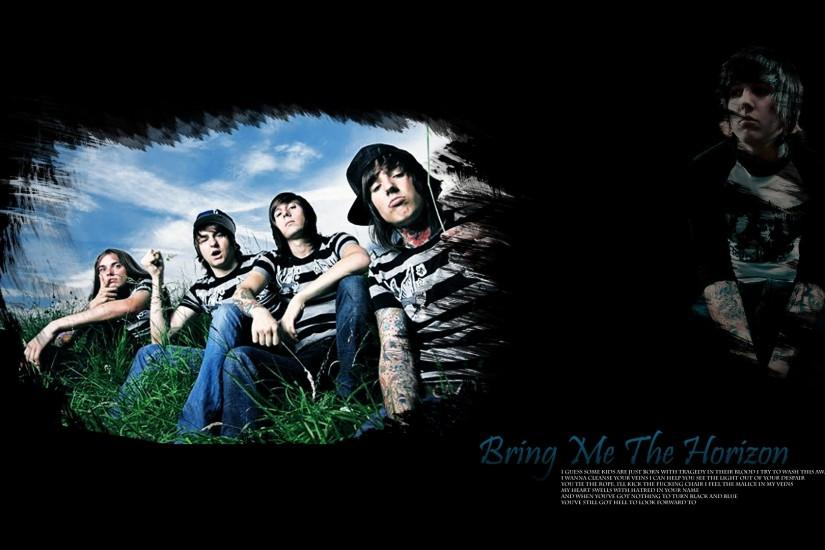 Preview wallpaper bring me the horizon, band, members, grass, sky 1920x1080