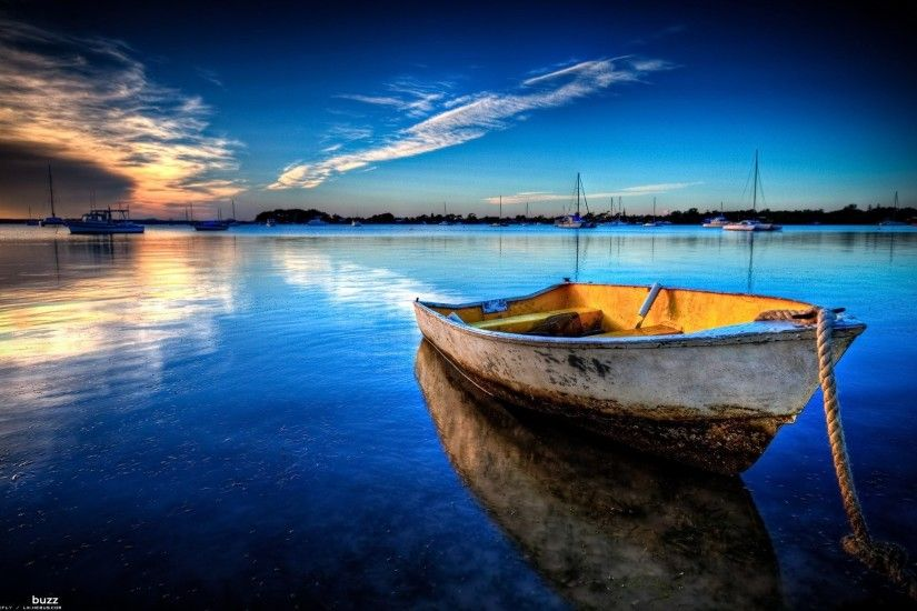 boat at sunset wallpaper