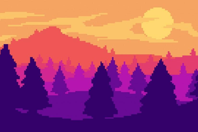 Pixel art landscape by