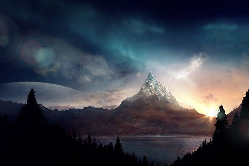 ... Background Full HD 1080p. 1920x1080 Wallpaper peak, mountain, fantasy,  art