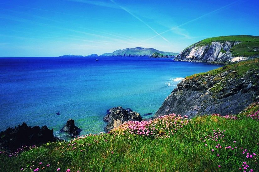 Scenery Ireland Grass Ocean Waves Horizons Coast Sea Rocks Flowers Blue Sky  Nice Water Summer Nature Beautiful Lovely Pretty Beach View Free Wallpapers  - ...