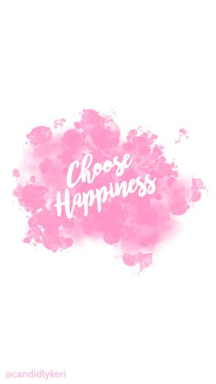 Choose Happiness quote pink splatter paint watercolor wallpaper with black  and white flowers free download for