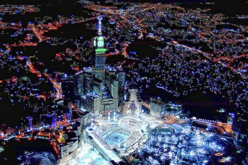 These Wallpaper picture parts of Abraj Al Bait Towers Mecca At Night Desktop  Backgrounds For Free