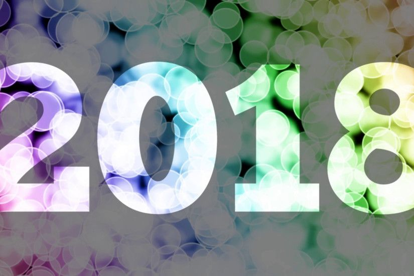 New Year 2018 to 2019 fade in/out animation with color gradient moving  bokeh background. 90 frames still with year, 180 frames fade out, 30 frames  clear, ...