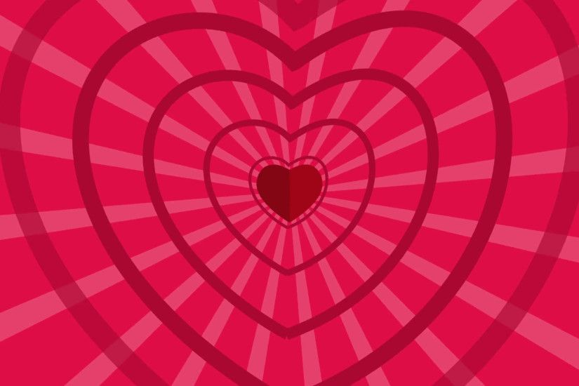 Seamless Looping Red and Pink Heart Animated Background. Cartoon animation  of Red hearts with sunburst background for your logo or text.