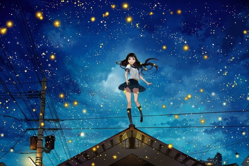 night, Power Lines, Rooftops, Stars, Anime Girls, Original Characters,  Fireflies, Utility Pole Wallpapers HD / Desktop and Mobile Backgrounds