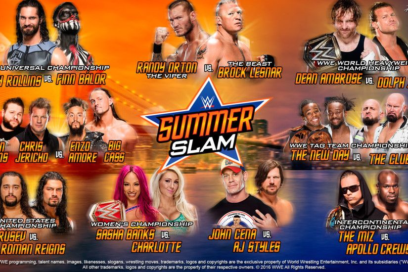 WWE SummerSlam 2016 MatchCard (Wallpaper) by KevStif .
