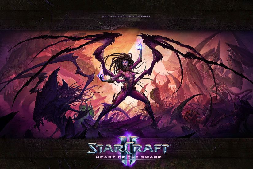 starcraft 2 heart of the swarm swarm kerrigan widescreen hd wallpaper