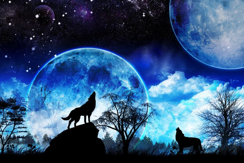 Wolf Howling At The Moon Wallpaper 1
